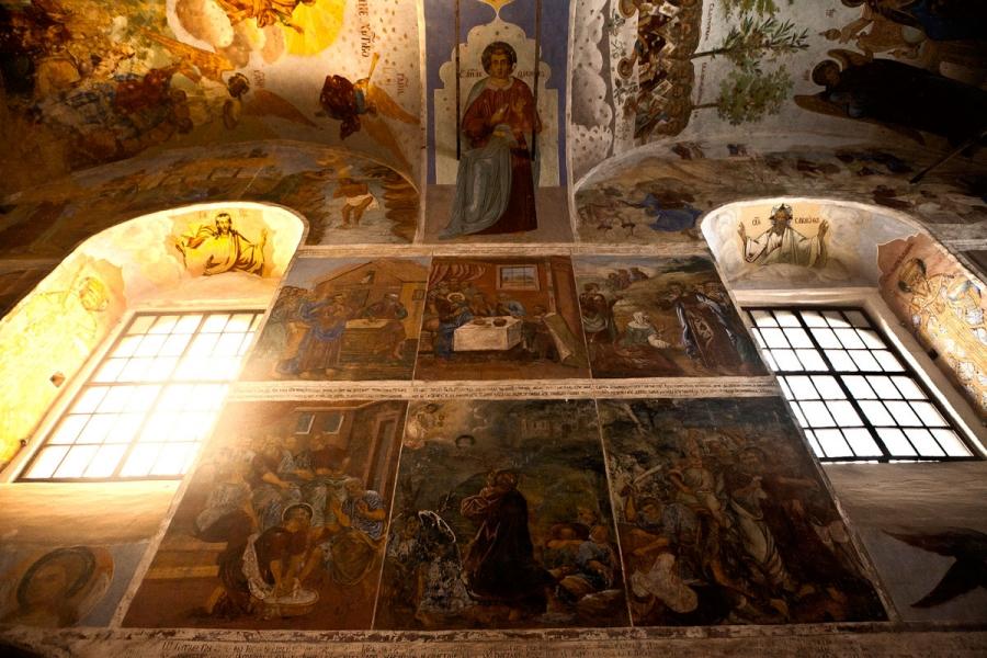 Свято-Троицкий Александра Свирского монастырь, фрески в Троицком соборе