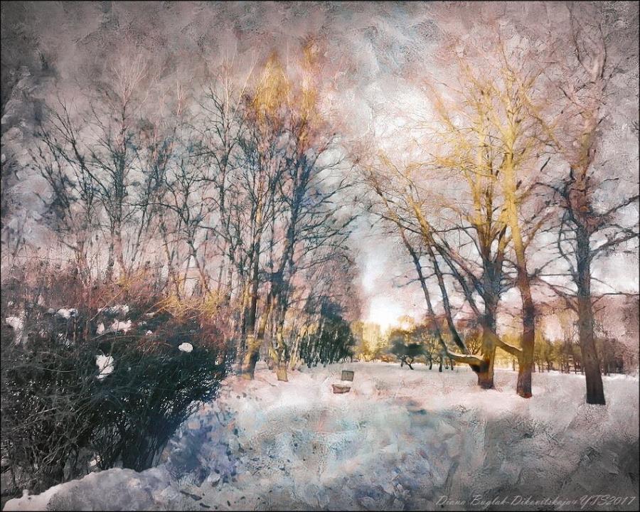 Зимний вечер в парке